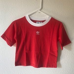 Adidas cropped top red tee